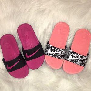 bf41d1e1db3274 Nike Shoes - Nike Kawa Slide sandals- 2 pair girls size 12c